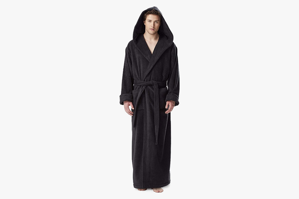 Arus Men's Hood'n Full Ankle Length Hooded Turkish Cotton Bathrobe