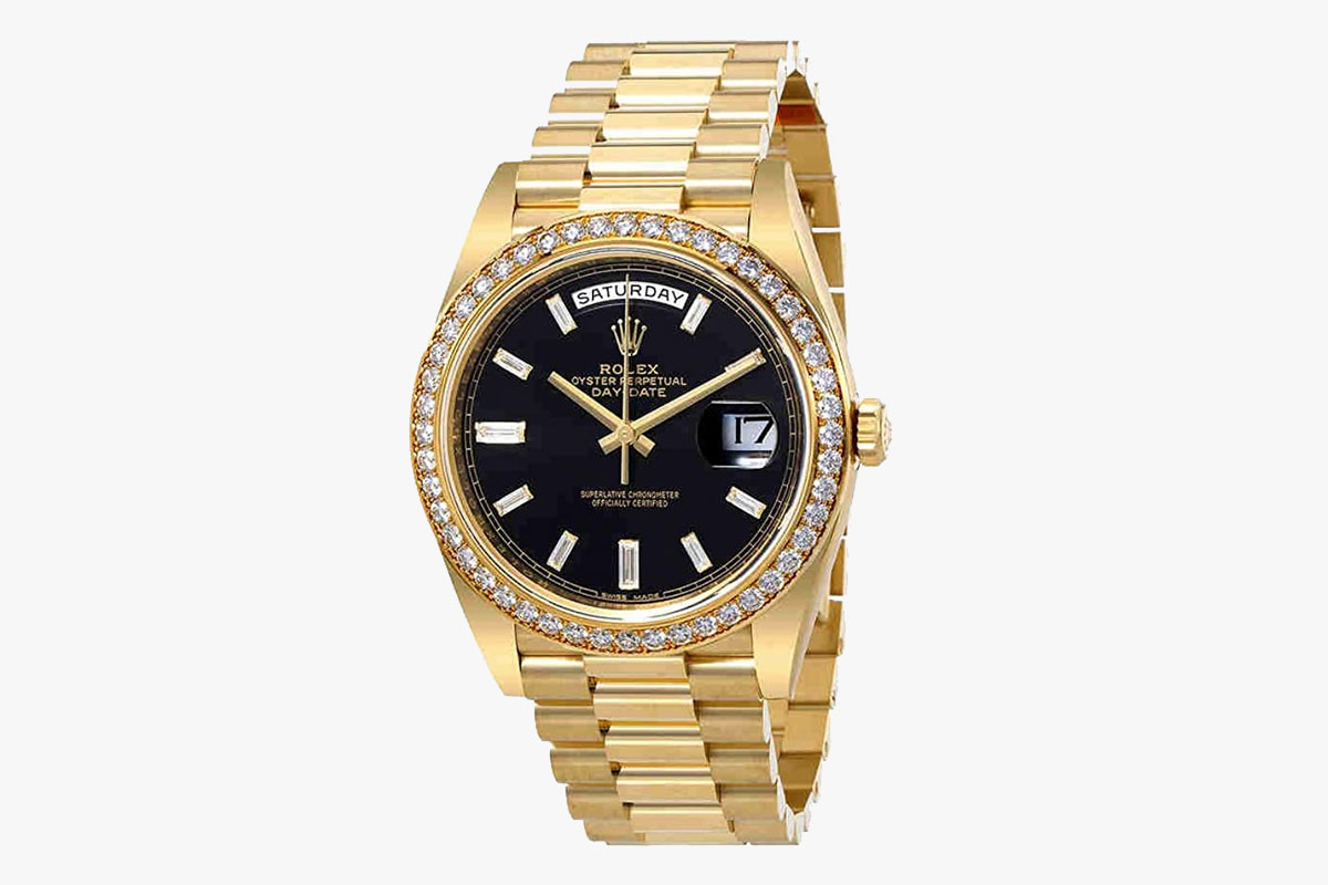 Rolex Oyster Perpetual Day-Date Black Dial Automatic Mens 18 Carat Yellow Gold President Watch