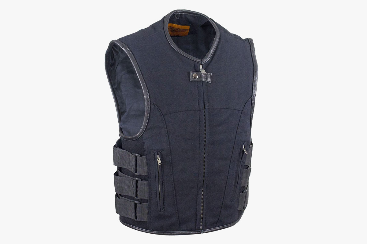 Ultimate Leather Apparel Canvas Motorcycle Vest with Dual Gun Pockets