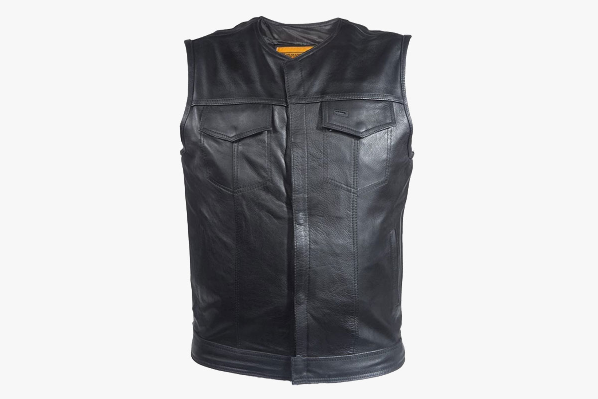 Ultimate Leather Apparel Collarless Motorcycle Vest with Dual Gun Pocket