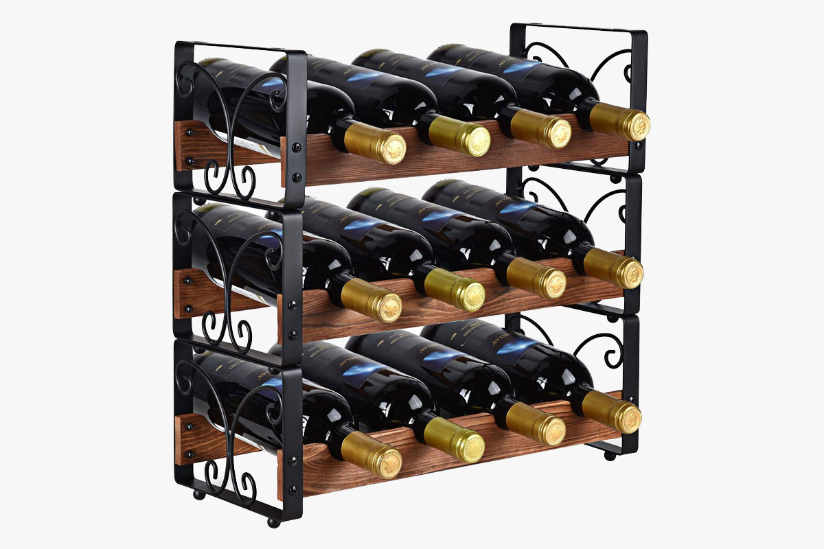 "X-cosrack Rustic 3 Tier Stackable Wine Rack Freestanding 12 Bottles Organizer Holder Stand Countertop Liquor Storage Shelf Solid Wood & Iron 16.5"" L x 7.0"" W x 16.5"" H-Patent Pending"