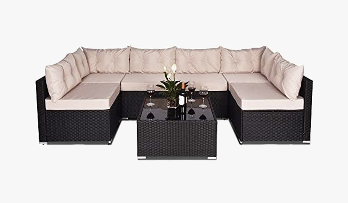amolife 7 pieces sofa set outdoor furniture